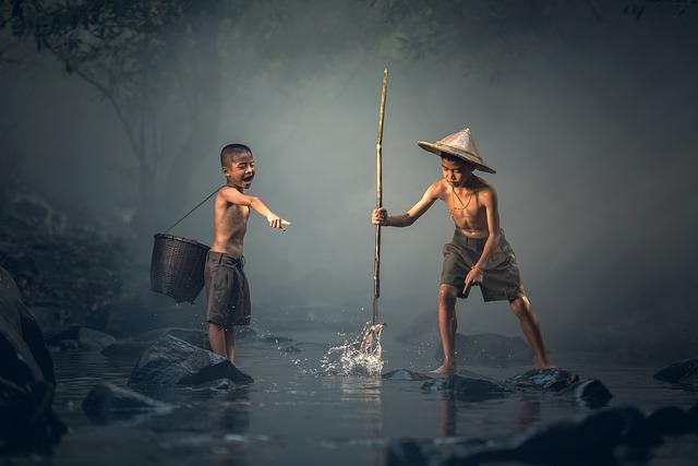 děti při rybaření