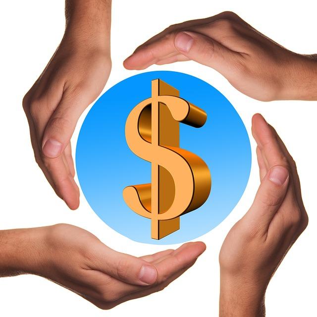 čtyři dlaně, symbol dolaru