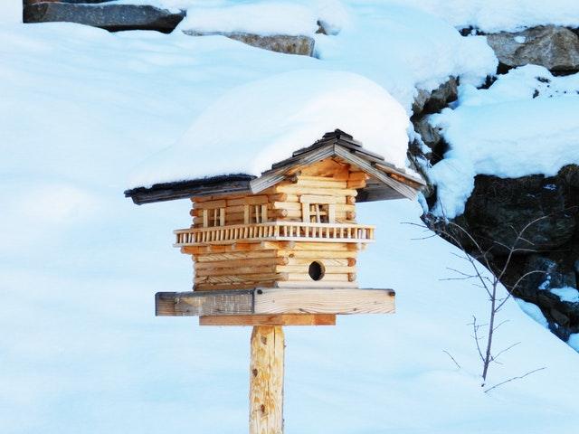 dřevěná ptačí budka, sníh